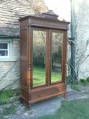 Antique French Armoire Wardrobe. 2 Mirrored Doors. Shelves, Drawers.