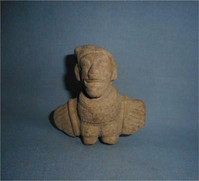 Antique Mexico Guatemala TOP PRE COLUMBIAN MAYA CLAY WINGED FIGURAL GOD