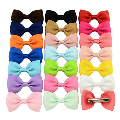 20Pcs Hair Bows Band Boutique Alligator Clip Grosgrain Ribbon For Girl Baby BS