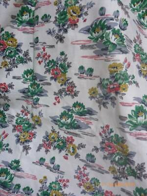 """Fabulous Vintage Unused 1950's Fabric Lily Pads 6 Meters x 47""""Curtains"""