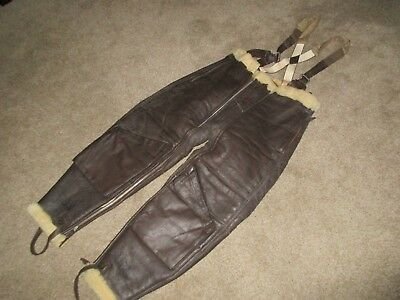 WW2 US Navy USN M-446A Fleece Lined Leather Flying Pants -Excellent! 38M