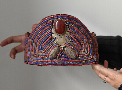 Antique Berber woman's beaded wedding hat, Morocco