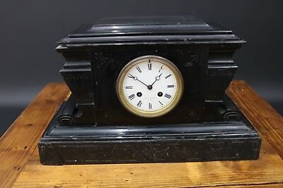 Antique French Slate Mantel Clock Marked Rey Jne Brevete Bell & Atkinson Paris