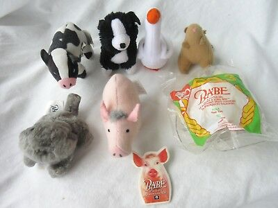 1995  McDonalds Babe Movie Happy Meal Plush Toys - Complete Set of 7 + Pin