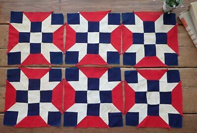 6 ANTIQUE c1880 Red White & Blue Quilt BLOCKS Make Table Doll or Crib QUILT 11""