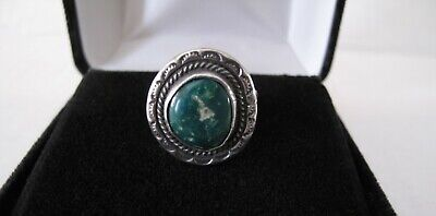 Vintage Navajo Indian Sterling Silver Blue/Green Turquoise Ring Size 5.5