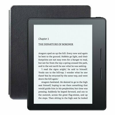 """Kindle Oasis E-reader w/ Leather Charging Cover, 6"""" Display, WiFi, 4GB (8th Gen)"""