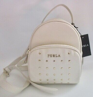 b1ecf49eb1eb FURLA Frida White Pebbled Leather Mini Studded Backpack Handbag NEW