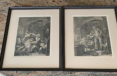 """Two Original 1736 William Hogarth Copper Engravings, """"Before"""" and """"After"""" Sex"""