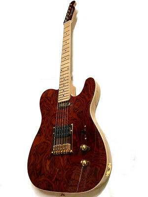 New 6 String Exotic Burl Maple Top Semi-Hollow St Style Electric Guitar