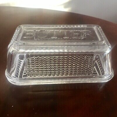 Anna Gare Retro Glass Butter Dish With Lid Vintage