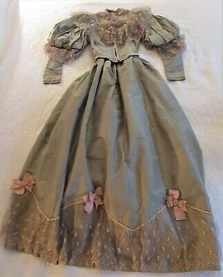 Antique (1890'S) Green & Pink Silk & Lace Ball Gown, Bodice & Skirt With Bustle