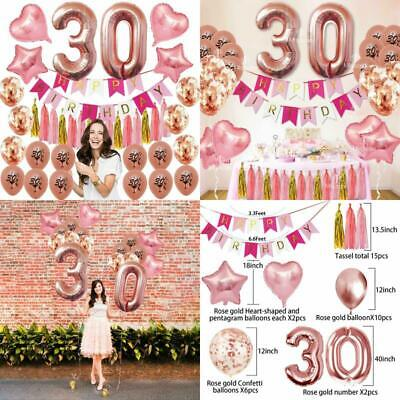 30Th Birthday Decorations Party Supplies Dirty Thirty Balloons ROSE GOLD Banner