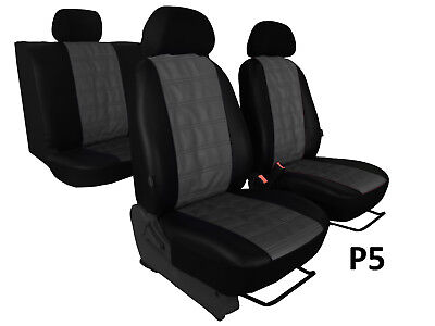 ECO LEATHER EMBOSSED TAILORED SEAT COVERS MADE FOR TOYOTA AYGO Mk1 2005-2014