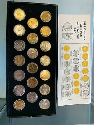 1999 Quarters Gold P&D And Platinum P&D Coin Set Of 20 With COA