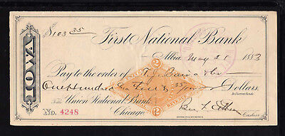 8A202 - 1883 First National Bank - Albia, Iowa  - C/w Revenue Stamp
