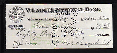 9M999 - 1943 Wendell National Bank - Wendell. Idaho