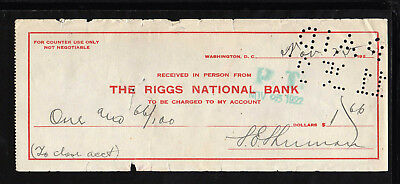 9M987 - 1922 The Riggs National Bank - Washington, D.c