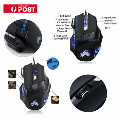 7 Buttons Led Laser Usb Wired Optical Game Gaming Mouse Pc Adjustable 5500 Dpi