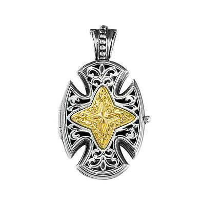 Gerochristo P5218N ~ Sterling & Gold Plated Silver Maltese Locket Cross Pendant