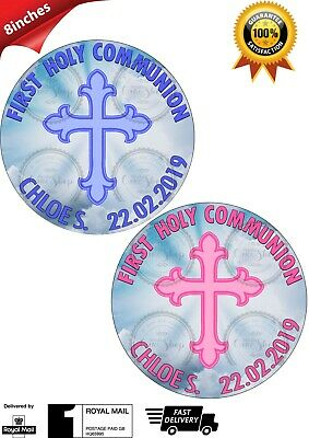 Personalised 1st First Holy Communion Edible Icing Round Cake Topper GIRL BOY 8""