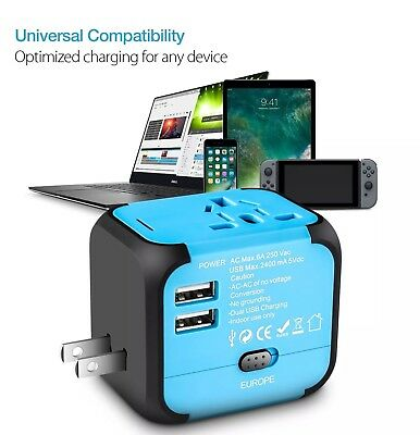 Universal Travel Adapter Wall Charger AU UK US EU AC Power Plug Converter 2 USB