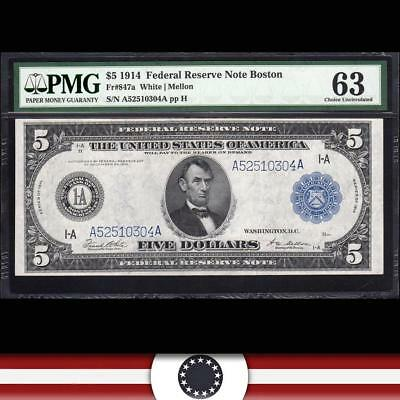 UNCIRCULATED 1914 $5 BOSTON FRN Federal Reserve Note PMG 63  Fr 847a  A52510304A