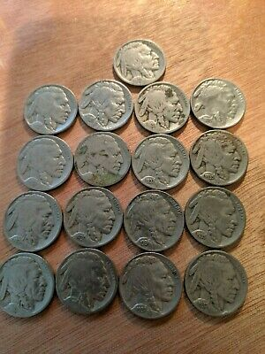 VINTAGE United States Coin Lot Of 17 Buffalo Nickels