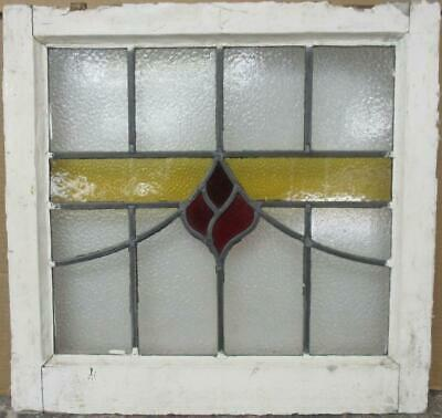 "OLD ENGLISH LEADED STAINED GLASS WINDOW Pretty Abstract Band 20.5"" x 19.75"""