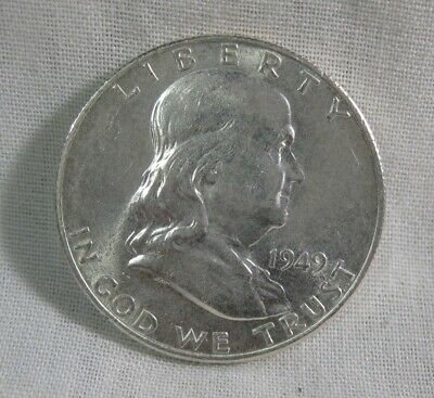 1949-S FRANKLIN Silver Half Dollar AU Almost Uncirculated - nice luster !