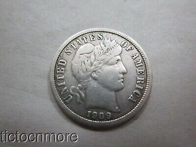 US 1909 10c BARBER SILVER DIME COIN TEN CENTS