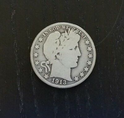 1913 Barber Silver Half Dollar 50c Better Date