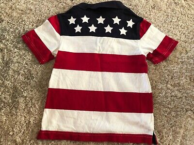 boys GYMBOREE FLAG SHIRT collared STARS STRIPES july 4th fourth SIZE 5 polo S/S