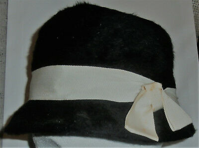 Vintage Black Hat With White Ribbon By Robit Hats~ Ladies~Womens Hat~