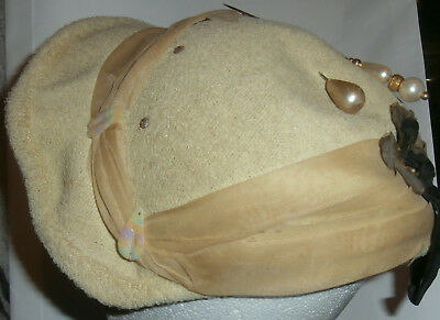 Vintage Yellow~Cream Colour ?? Hat With 2 Hat Pins & Mother Of Pearl~Womens Hat~