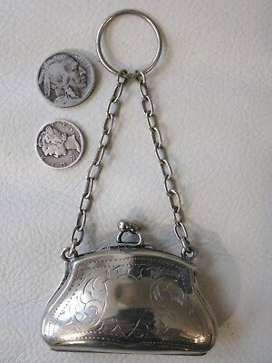 Antique Victorian EPNS Silver Finger Ring French Doll Child Leather Coin Purse