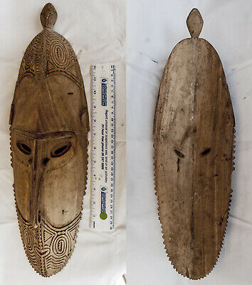 New Guinea Sepik Carved Wooden Mask 540mm Long Collected 1960s