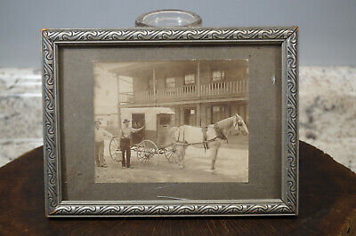 """Antique Photograph of Horse Wagon Milk Man in Front of Building Framed 7"""" x 5"""""""