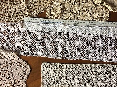 7 Pieces Hand Made Lace  Vintage VGC Crochet Lovely Panels Circles Brussels