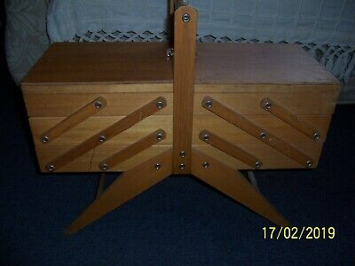 Large Vintage Wooden CANTILEVER Craft Utility Sewing Box and Content