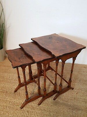 Antique Edwardian Nest Of Tables Burr Walnut