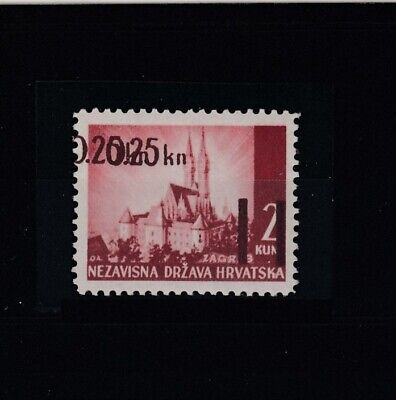 CROATIA (NDH) Double Overprint on a Landscape Stamp, Year 1942, MNH