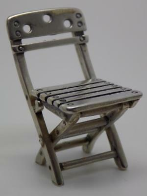 Vintage Solid Silver Italian Made RARE Folding Chair Miniature, Figurine, Stamp