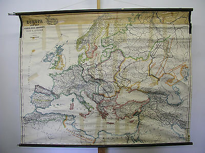 Wall Map Old Europakarte Karl the Great um 800 157x126 ~ 1940 Vintage v.Spruner