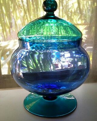 RARE COLOR Blue & Green Lidded Glass Candy/Lolly Apothecary Jar
