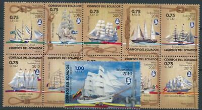 [121721] Ecuador 2010 Boats good set of stamps very fine MNH