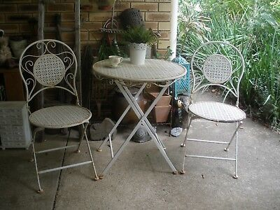 Vintage Wrought Iron Set Patio / rustic french garden look, folding, pu nth bris