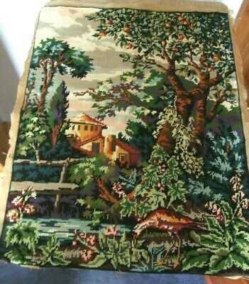 Large Completed Tapestry Garden Tree Bird Lovely Colours 26 X 20 Inches