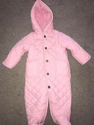 Ralph Lauren Baby Girls Pink Quilted Snowsuit All In One Age 6 Months