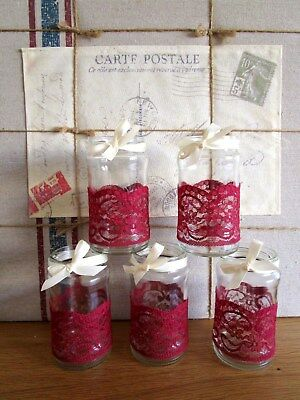 10 Vintage Glass Jars Vases Centre Pieces Shabby ChicRed Maroon Wedding Lace